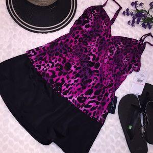 NEW Jantzen 2PC Leopard Tankini Skirt Swimsuit